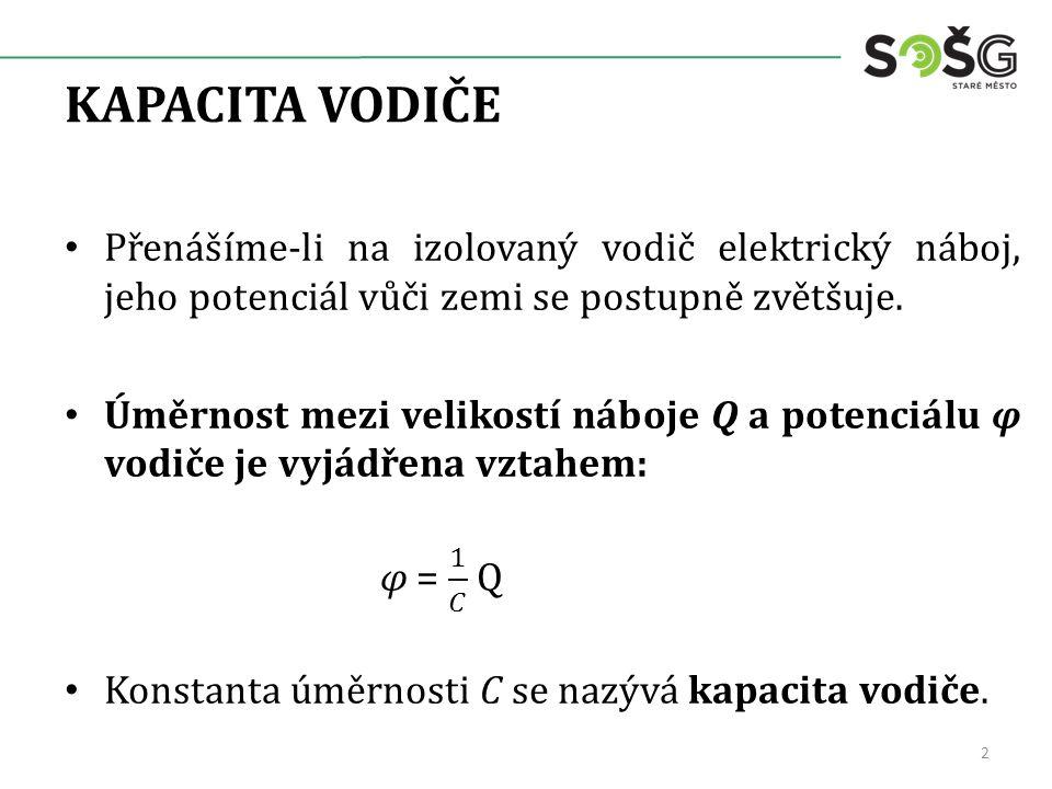 KAPACITA VODIČE Přenášíme-li na izolovaný vodič elektrický náboj, jeho potenciál vůči zemi se postupně zvětšuje.