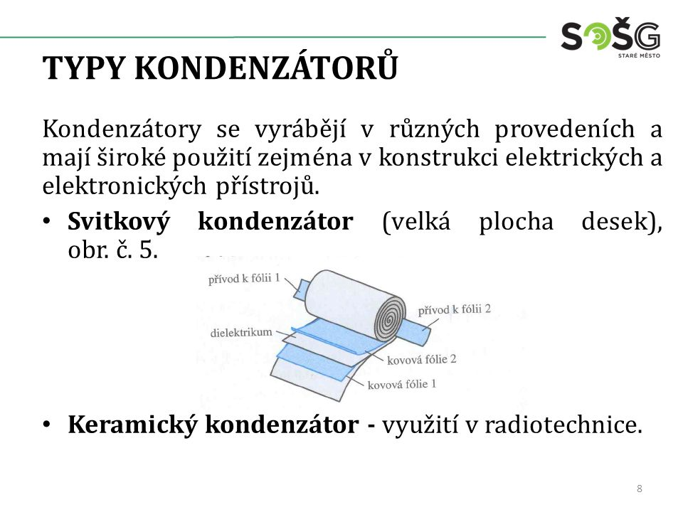 TYPY KONDENZÁTORŮ Kondenzátory se vyrábějí v různých provedeních a mají široké použití zejména v konstrukci elektrických a elektronických přístrojů.