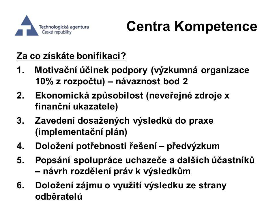 Centra Kompetence Za co získáte bonifikaci