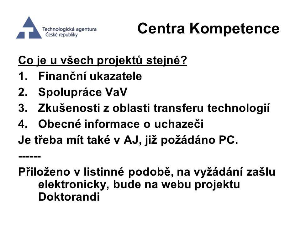 Centra Kompetence Co je u všech projektů stejné Finanční ukazatele