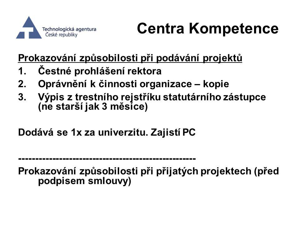 Centra Kompetence Prokazování způsobilosti při podávání projektů