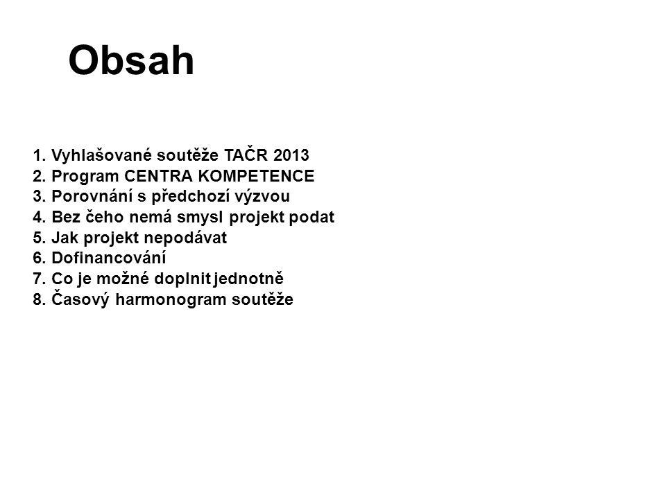 Obsah 1. Vyhlašované soutěže TAČR 2013 2. Program CENTRA KOMPETENCE