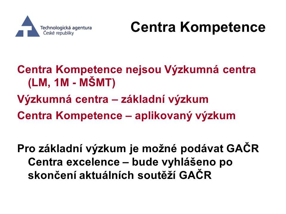 Centra Kompetence Centra Kompetence nejsou Výzkumná centra (LM, 1M - MŠMT) Výzkumná centra – základní výzkum.