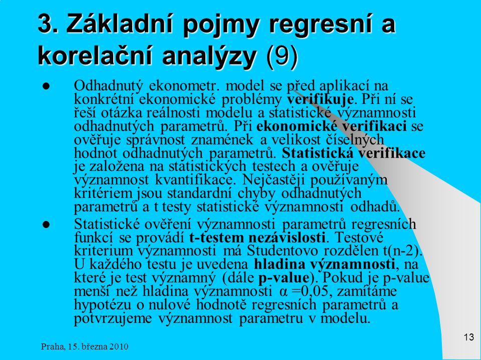 3. Základní pojmy regresní a korelační analýzy (9)