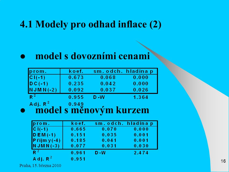 4.1 Modely pro odhad inflace (2)