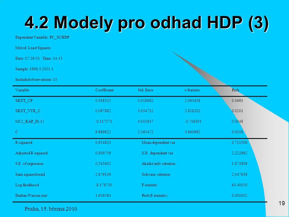 4.2 Modely pro odhad HDP (3) Praha, 15. března 2010