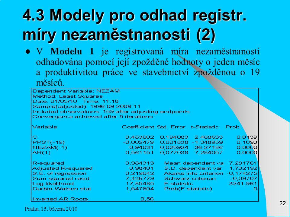 4.3 Modely pro odhad registr. míry nezaměstnanosti (2)