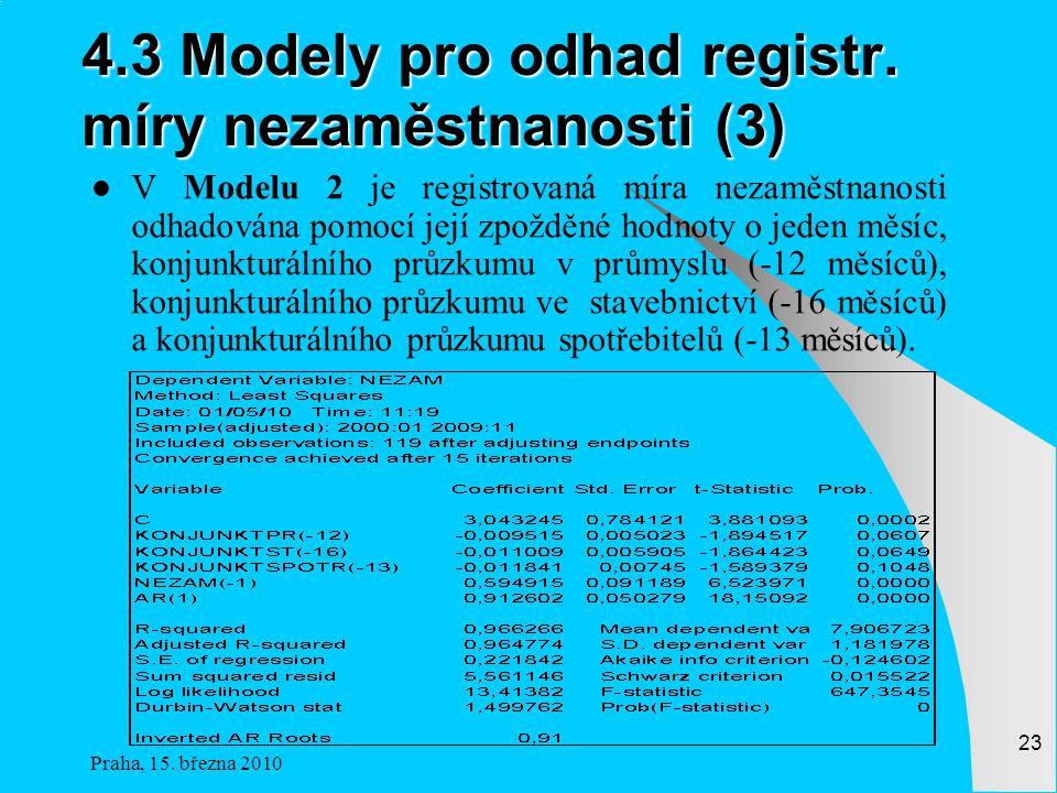 4.3 Modely pro odhad registr. míry nezaměstnanosti (3)