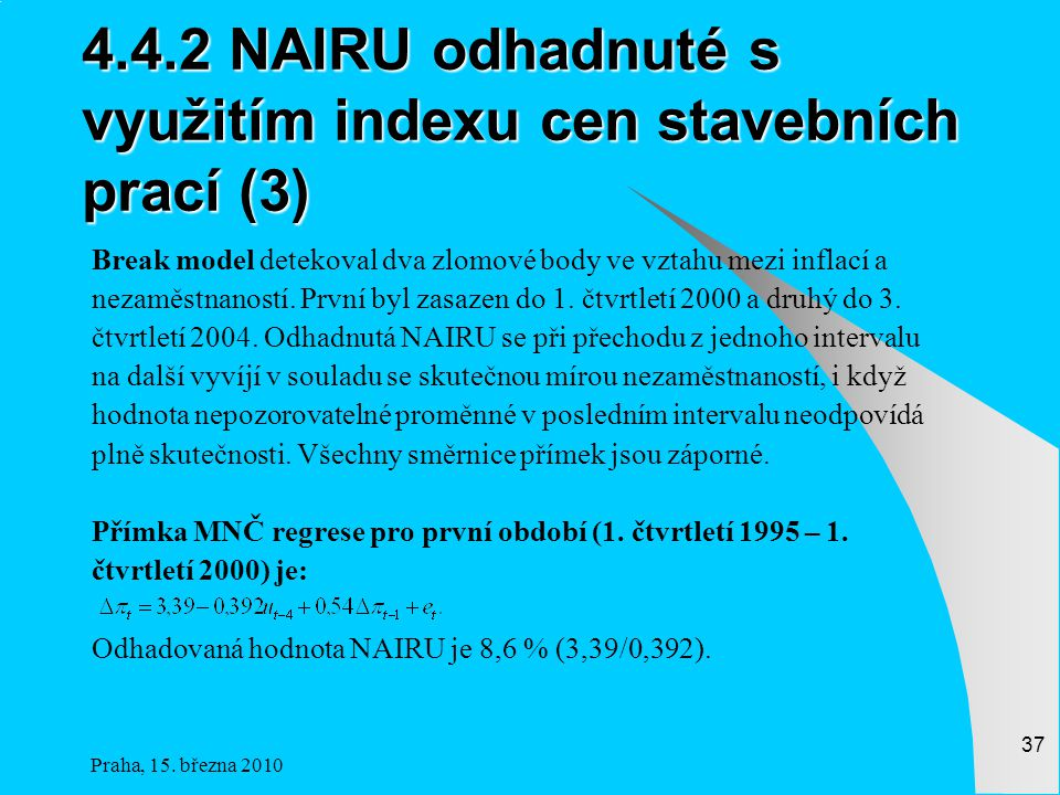 4.4.2 NAIRU odhadnuté s využitím indexu cen stavebních prací (3)