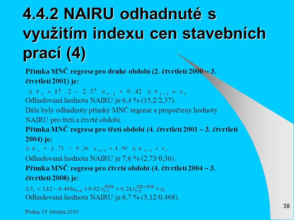 4.4.2 NAIRU odhadnuté s využitím indexu cen stavebních prací (4)