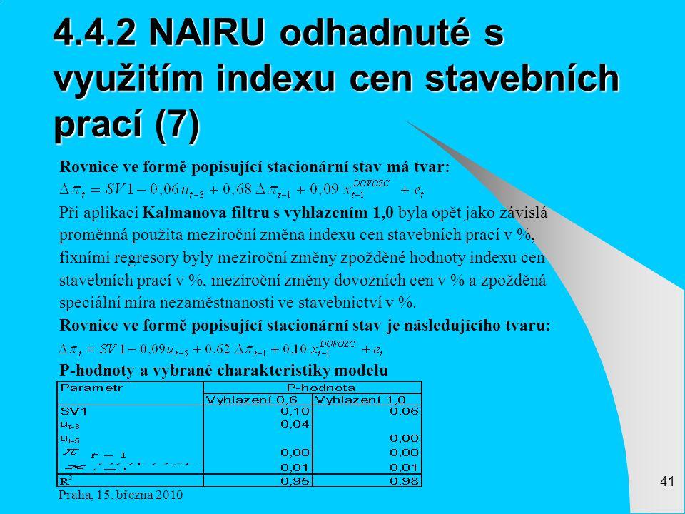 4.4.2 NAIRU odhadnuté s využitím indexu cen stavebních prací (7)