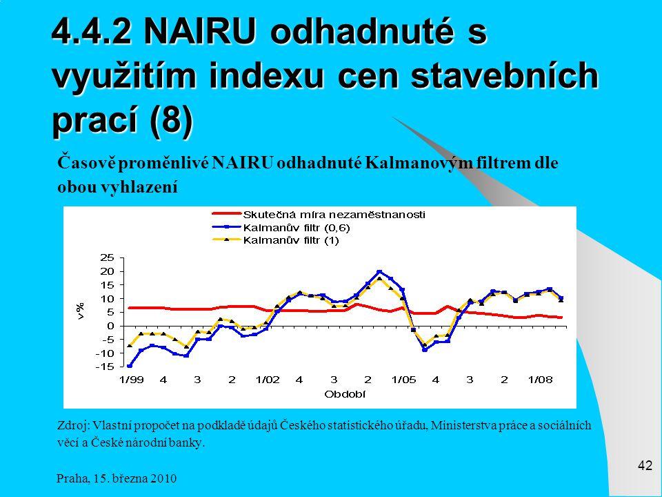 4.4.2 NAIRU odhadnuté s využitím indexu cen stavebních prací (8)