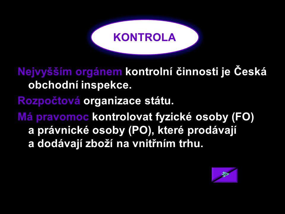 Nejvyšším orgánem kontrolní činnosti je Česká obchodní inspekce.