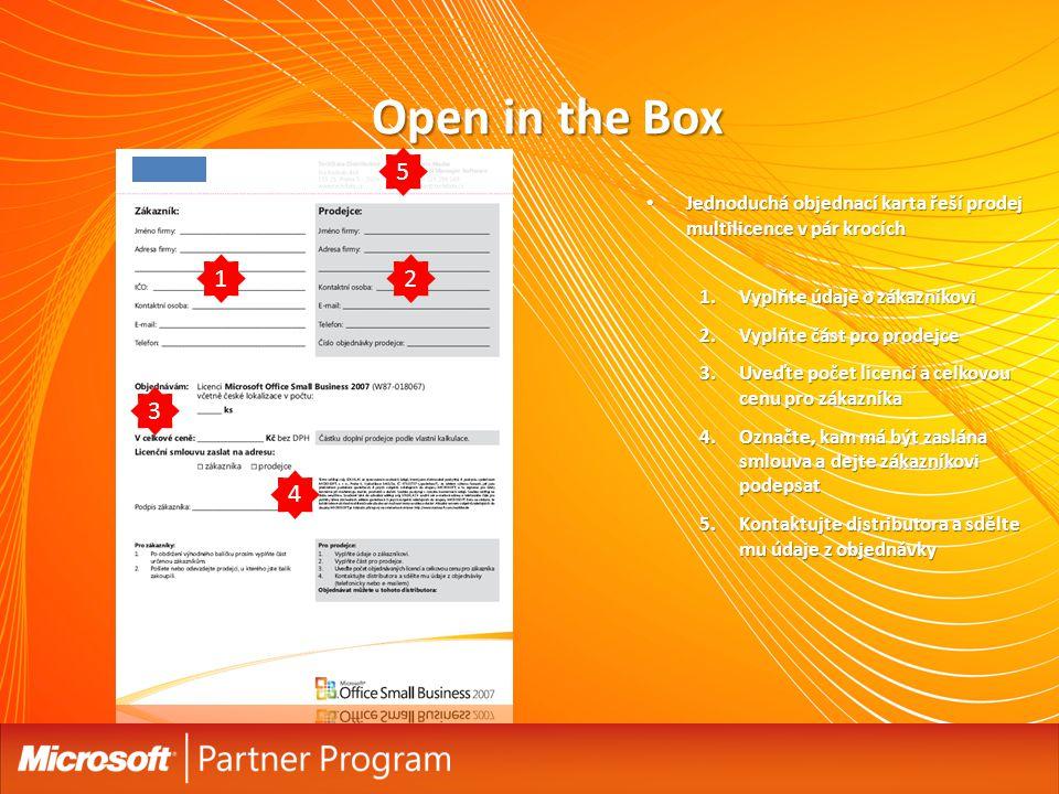 Open in the Box 5. Jednoduchá objednací karta řeší prodej multilicence v pár krocích. Vyplňte údaje o zákazníkovi.
