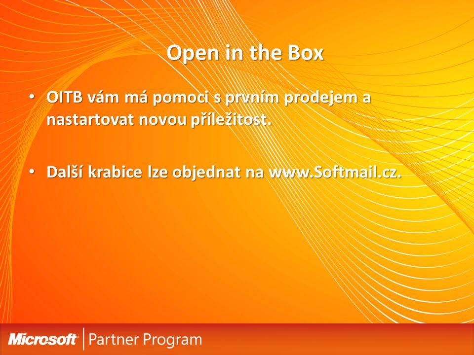 Open in the Box OITB vám má pomoci s prvním prodejem a nastartovat novou příležitost.