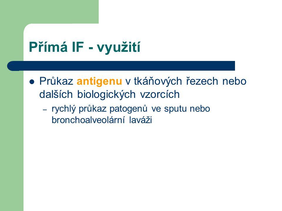Přímá IF - využití Průkaz antigenu v tkáňových řezech nebo dalších biologických vzorcích.