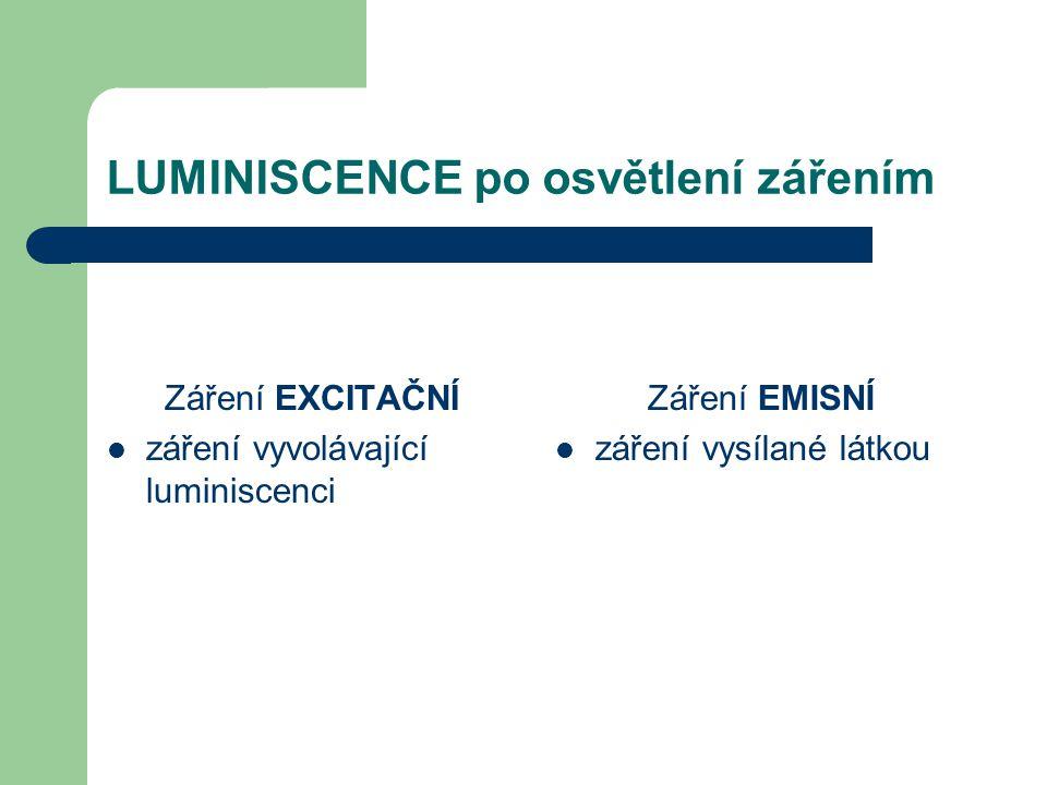 LUMINISCENCE po osvětlení zářením