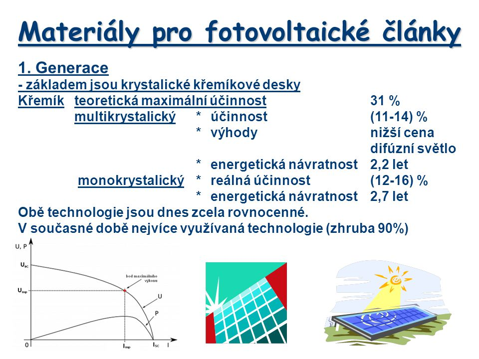 Materiály pro fotovoltaické články