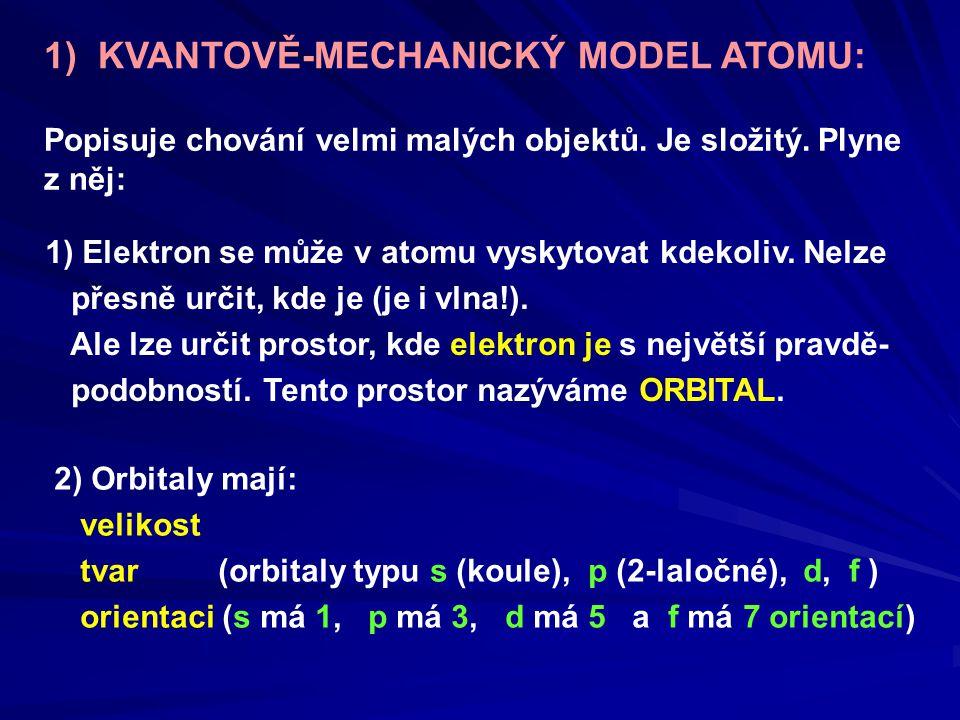 1) KVANTOVĚ-MECHANICKÝ MODEL ATOMU: