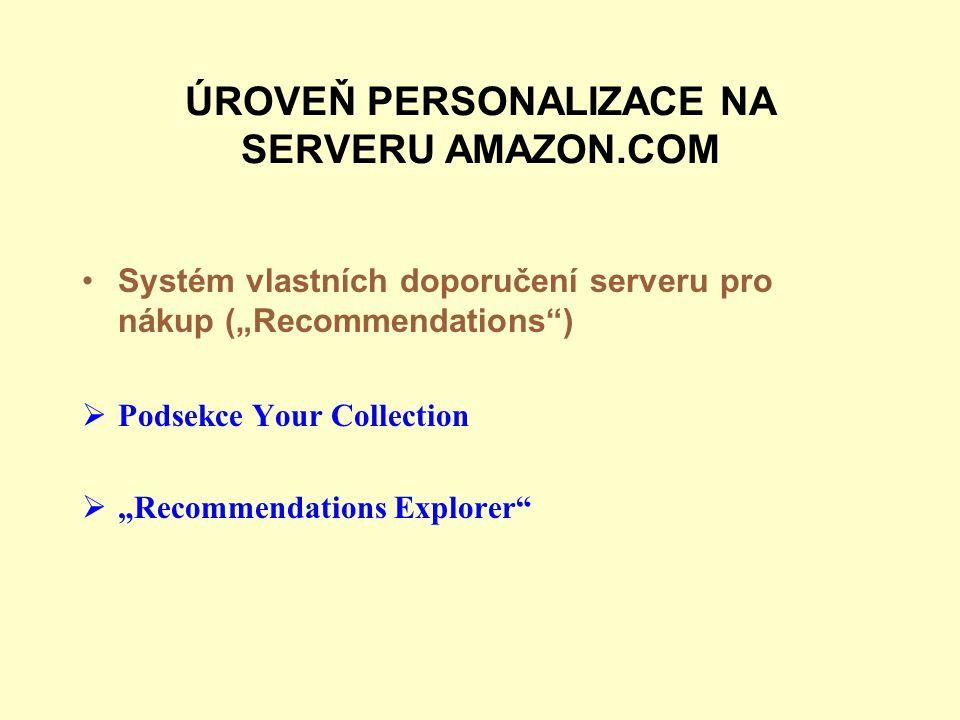 ÚROVEŇ PERSONALIZACE NA SERVERU AMAZON.COM