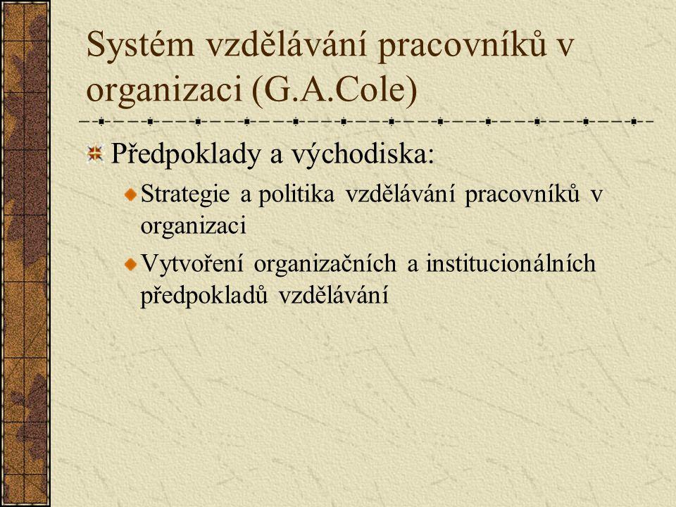 Systém vzdělávání pracovníků v organizaci (G.A.Cole)