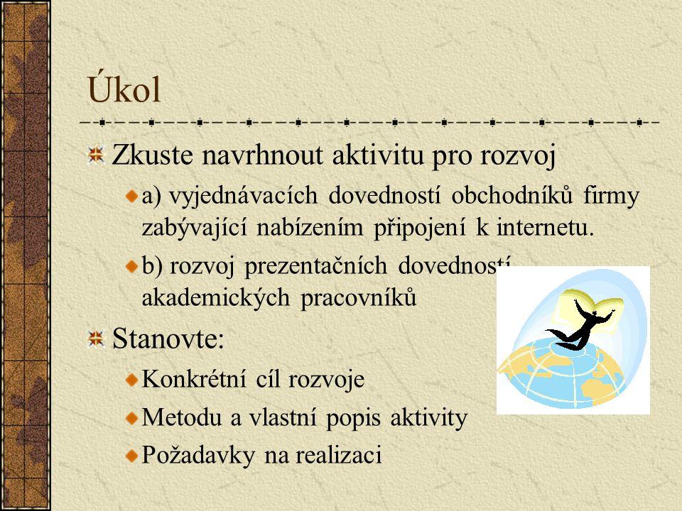 Úkol Zkuste navrhnout aktivitu pro rozvoj Stanovte: