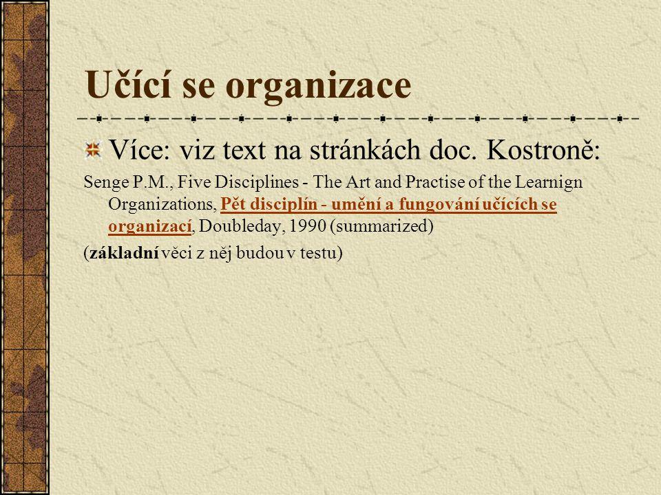Učící se organizace Více: viz text na stránkách doc. Kostroně: