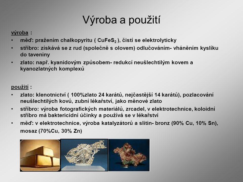 Výroba a použití výroba :