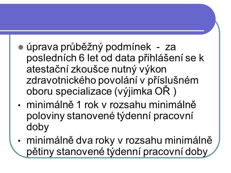 úprava průběžný podmínek - za posledních 6 let od data přihlášení se k atestační zkoušce nutný výkon zdravotnického povolání v příslušném oboru specializace (výjimka OŘ )