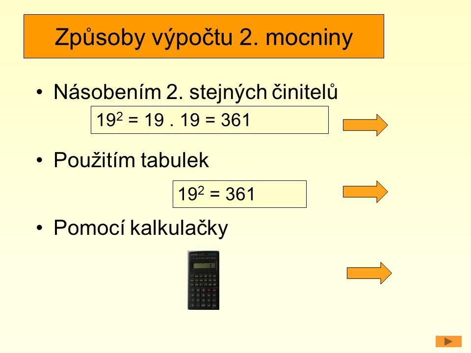 Způsoby výpočtu 2. mocniny