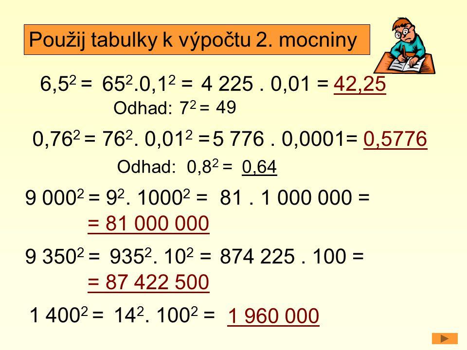 Použij tabulky k výpočtu 2. mocniny