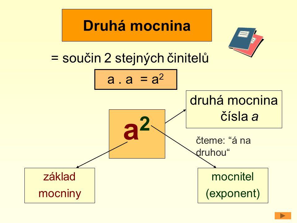 a2 Druhá mocnina = součin 2 stejných činitelů a . a = a2