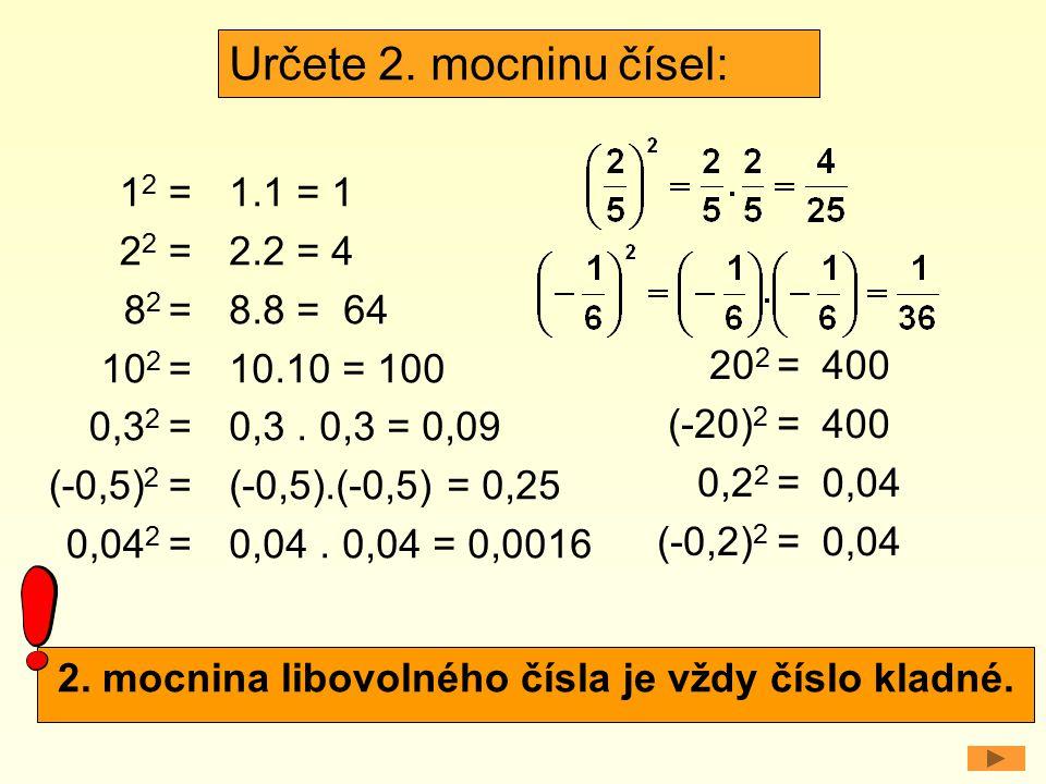2. mocnina libovolného čísla je vždy číslo kladné.