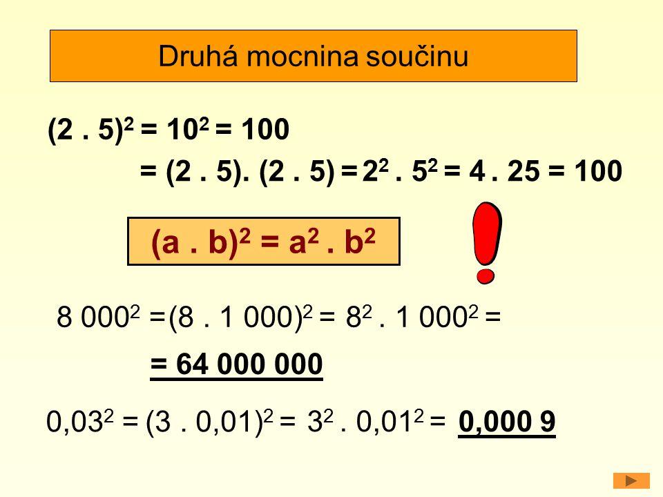 (a . b)2 = a2 . b2 Druhá mocnina součinu (2 . 5)2 = 102 = 100