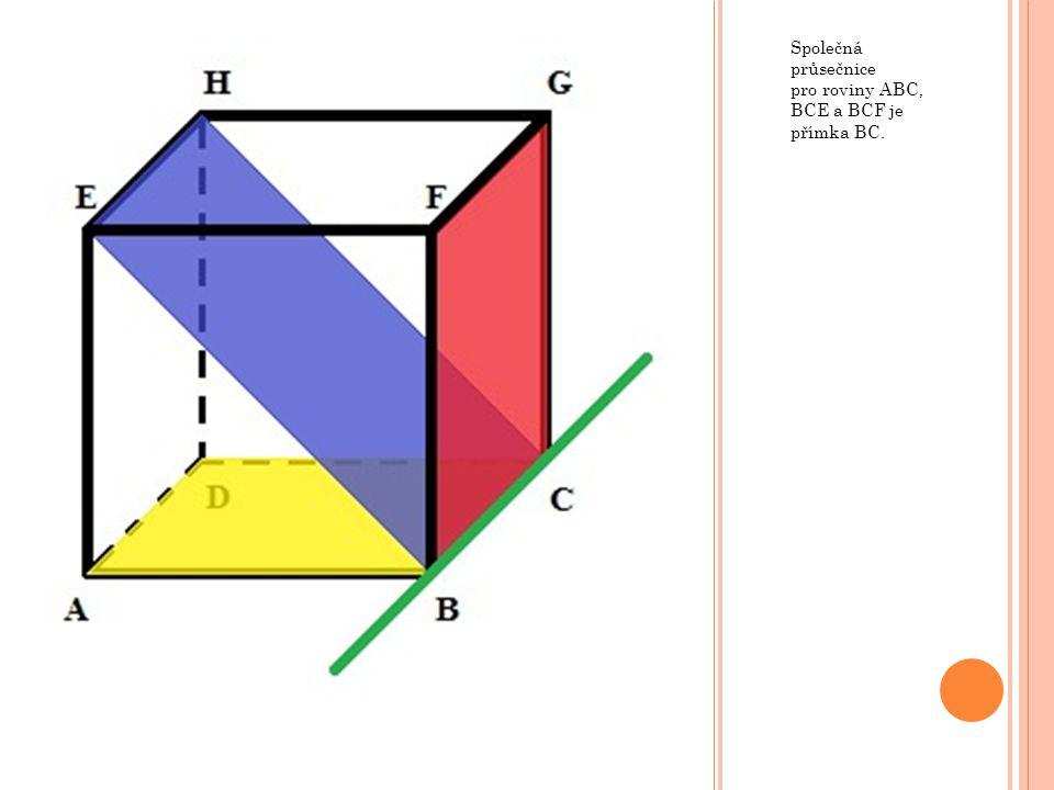 Společná průsečnice pro roviny ABC, BCE a BCF je přímka BC.