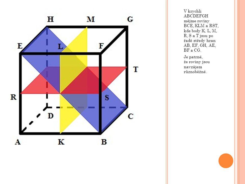 V krychli ABCDEFGH mějme roviny BCE, KLM a RST, kde body K, L, M, R, S a T jsou po řadě středy hran AB, EF, GH, AE, BF a CG.