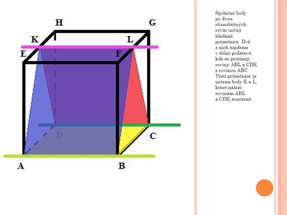 Společné body po dvou různoběžných rovin určují hledané průsečnice
