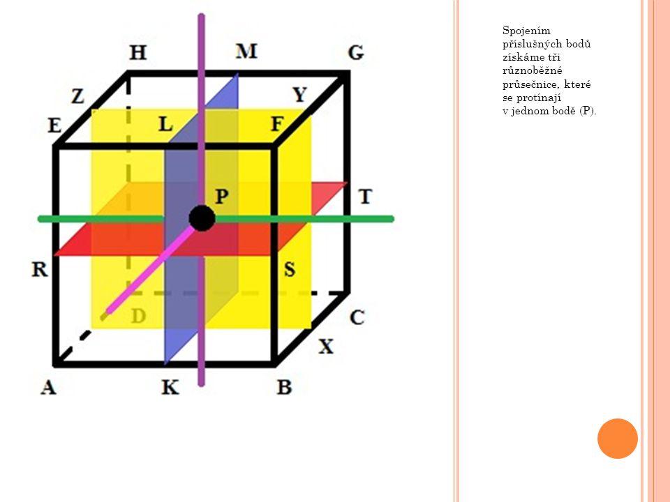 Spojením příslušných bodů získáme tři různoběžné průsečnice, které se protínají v jednom bodě (P).
