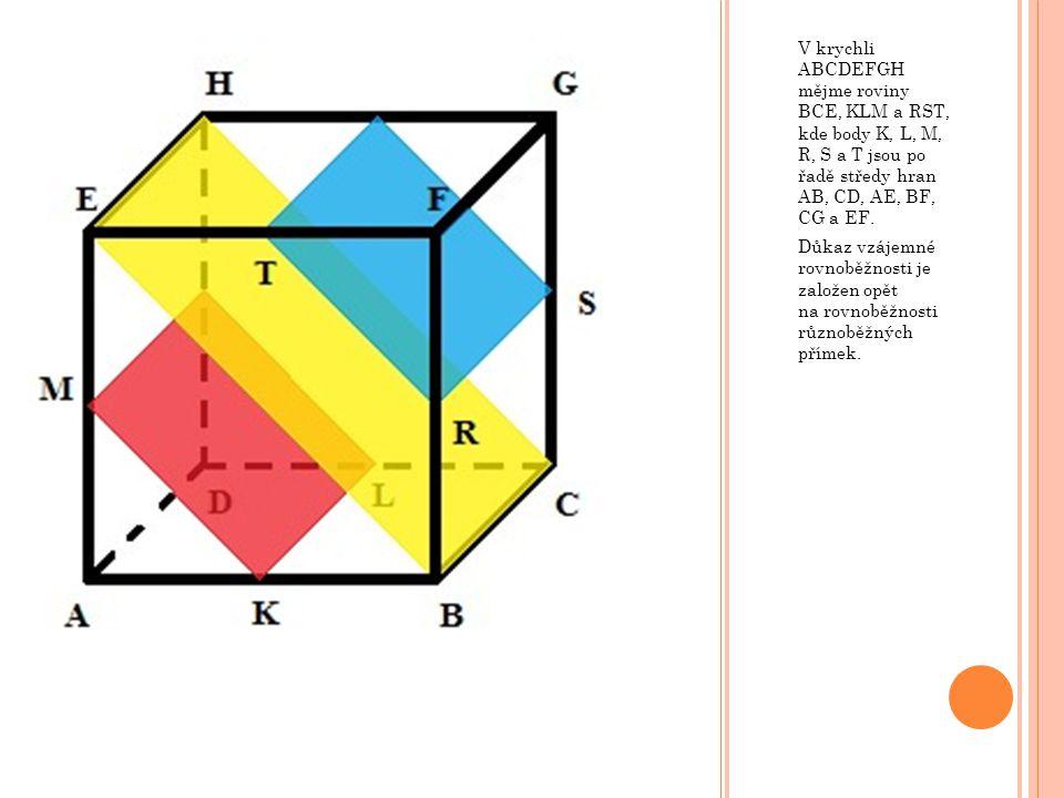 V krychli ABCDEFGH mějme roviny BCE, KLM a RST, kde body K, L, M, R, S a T jsou po řadě středy hran AB, CD, AE, BF, CG a EF.
