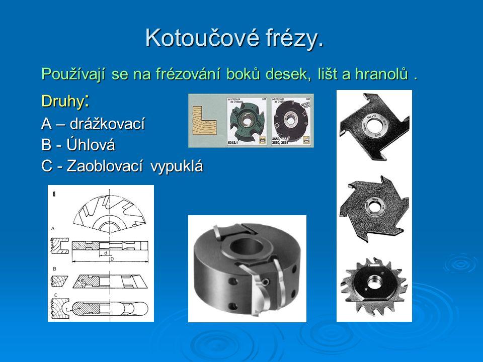 Kotoučové frézy. Používají se na frézování boků desek, lišt a hranolů . Druhy: A – drážkovací. B - Úhlová.