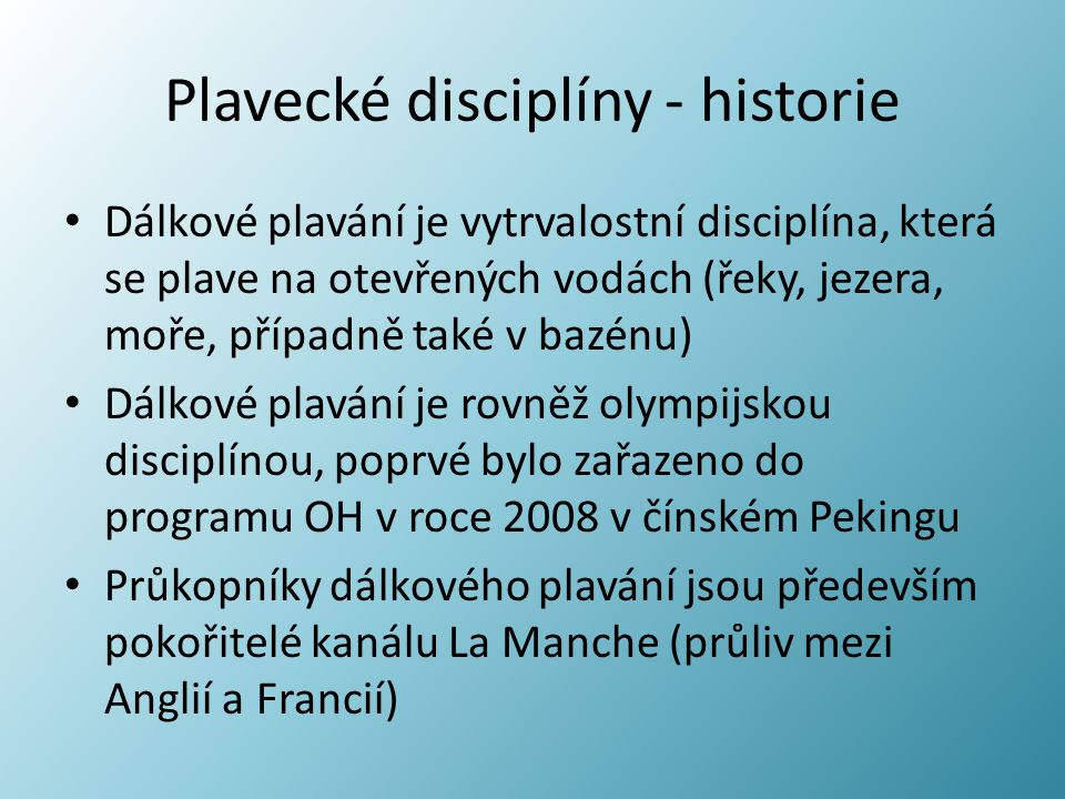 Plavecké disciplíny - historie