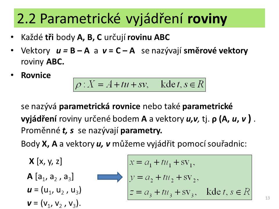 2.2 Parametrické vyjádření roviny