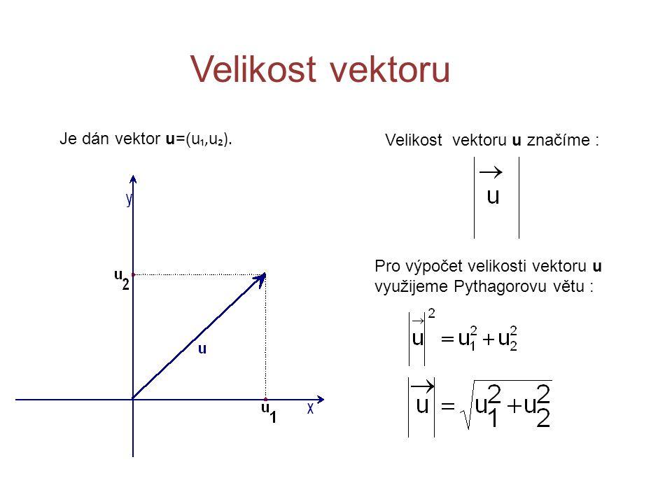 Velikost vektoru Je dán vektor u=(u₁,u₂). Velikost vektoru u značíme :