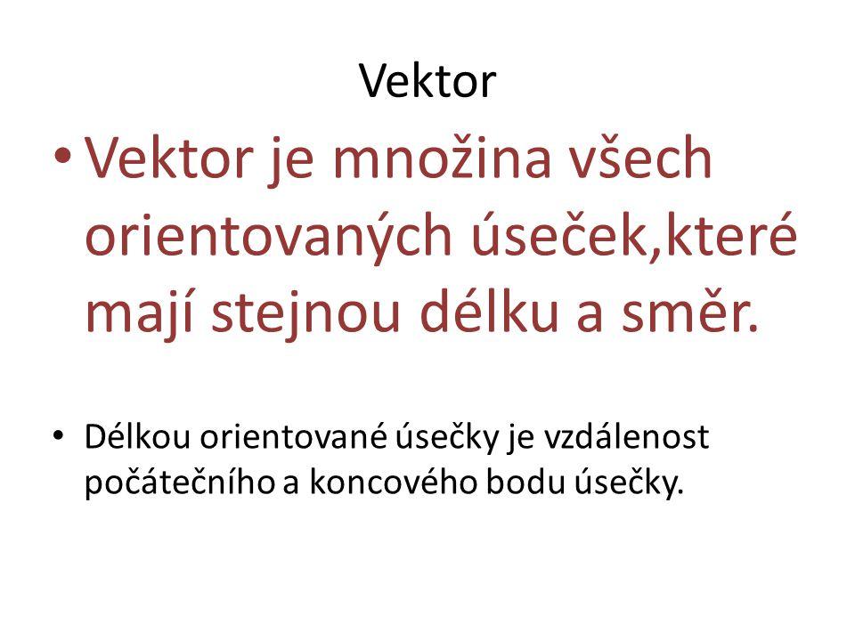 Vektor Vektor je množina všech orientovaných úseček,které mají stejnou délku a směr.