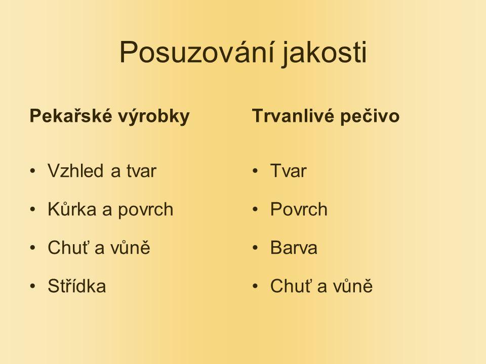 Posuzování jakosti Pekařské výrobky Trvanlivé pečivo Vzhled a tvar