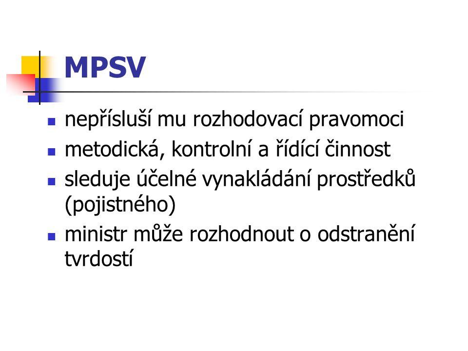 MPSV nepřísluší mu rozhodovací pravomoci