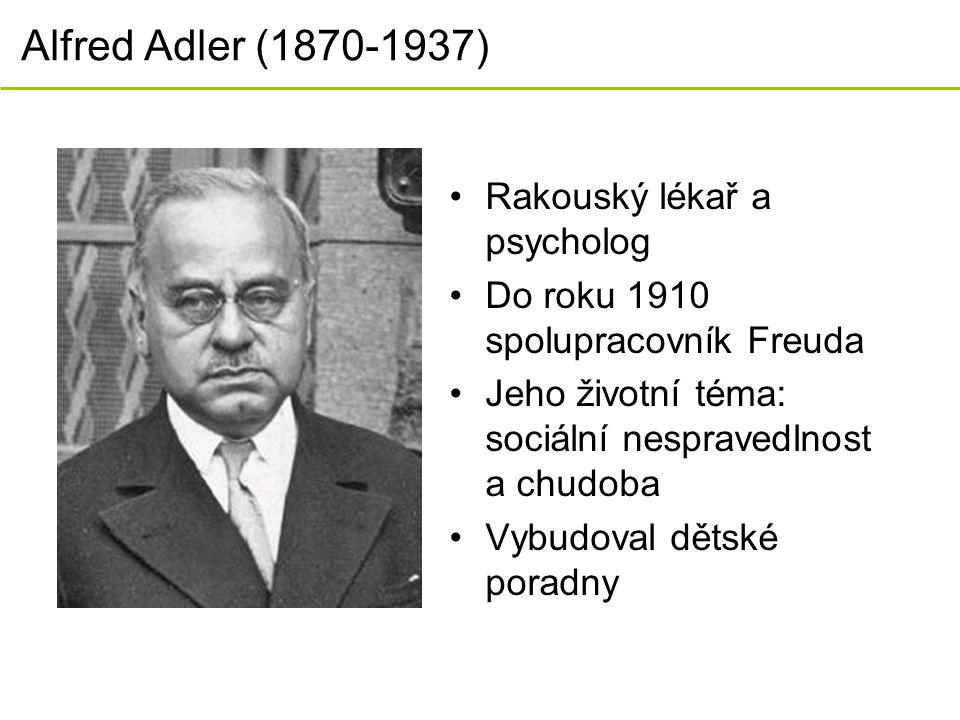 Alfred Adler (1870-1937) Rakouský lékař a psycholog