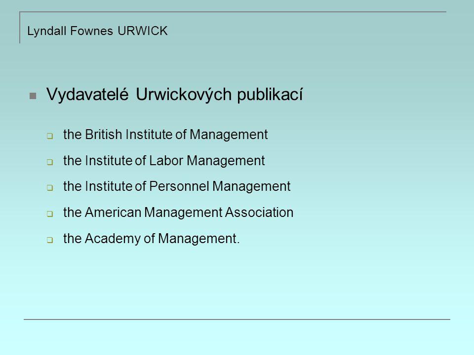 Vydavatelé Urwickových publikací