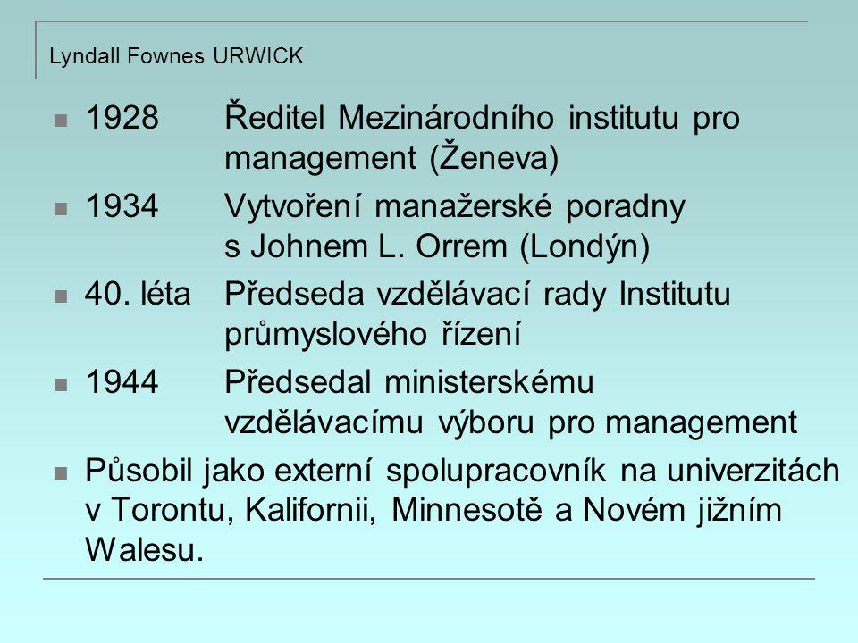 1928 Ředitel Mezinárodního institutu pro management (Ženeva)