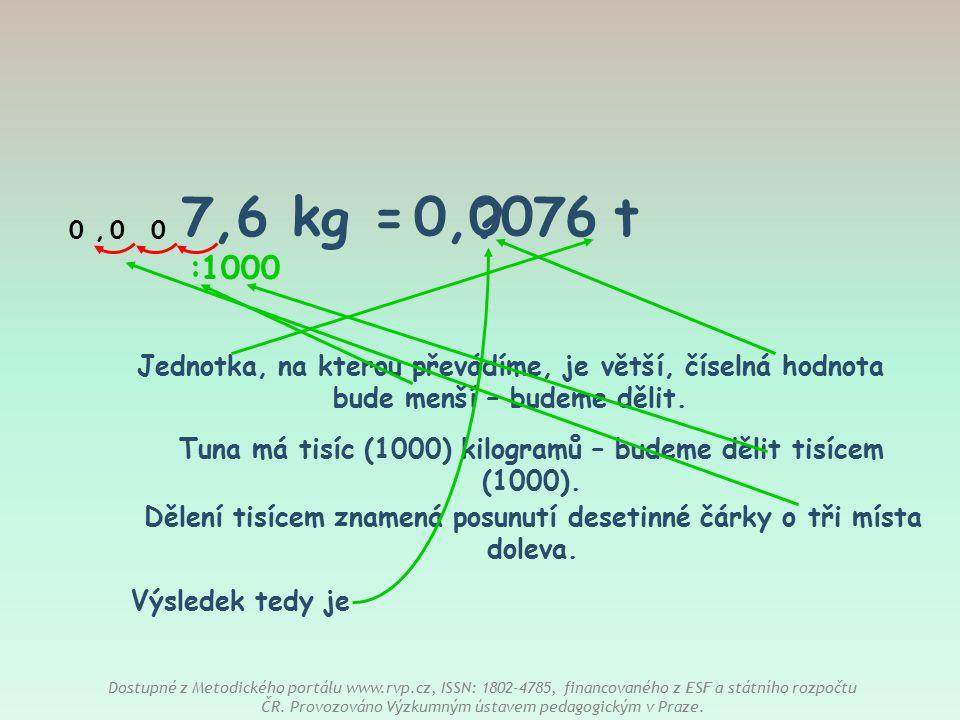 7,6 kg = t 0,0076. , : 1000. Jednotka, na kterou převádíme, je větší, číselná hodnota bude menší – budeme dělit.